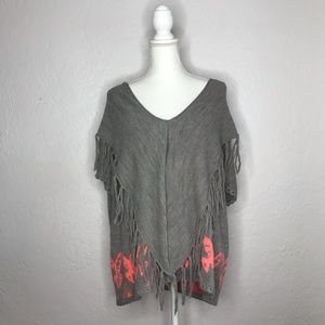 Moth Anthropologie Fringe Cowl Aztec Bird Sweater